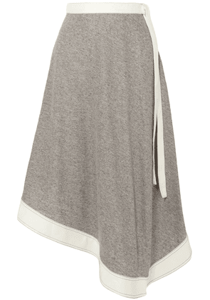 Loewe Asymmetric Mélange Linen And Ramie-blend Midi Skirt Woman Stone Size 34