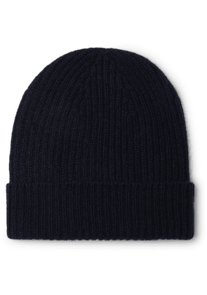 Anderson & Sheppard - Ribbed Mélange Cashmere Beanie - Navy