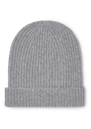 Anderson & Sheppard - Ribbed Mélange Cashmere Beanie - Gray