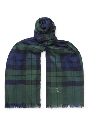 Anderson & Sheppard - + Camoshita Fringed Checked Cashmere Scarf - Green
