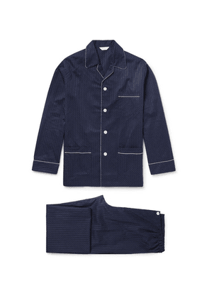 Derek Rose - Royal Pin-dot Cotton-jacquard Pyjama Set - Navy