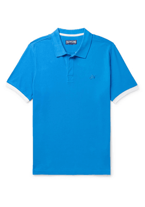 Vilebrequin - Palatin Slim-fit Contrast-tipped Cotton-piqué Polo Shirt - Blue