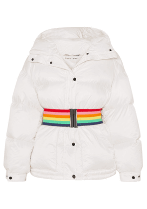 Perfect Moment - Belted Hooded Quilted Down Ski Jacket - White