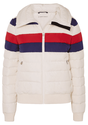 Perfect Moment - Queenie Merino Wool-trimmed Striped Quilted Down Ski Jacket - Ecru