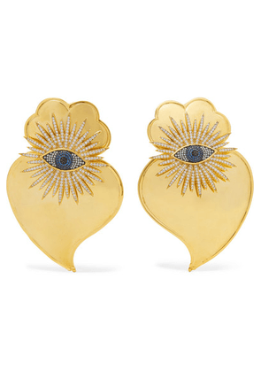 Begüm Khan - Evil Eye Cuore Sacro Gold-plated Crystal Clip Earrings - one size