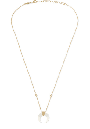 Jacquie Aiche - Mini Double Horn 14-karat Gold, Moonstone And Diamond Necklace - one size