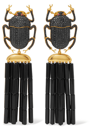 Begüm Khan - Pharoah Napoleon Gold-plated, Crystal And Enamel Clip Earrings - one size