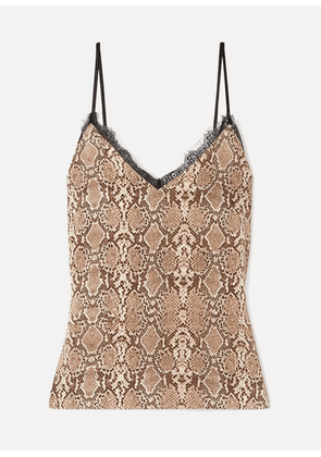 Anine Bing - Lace-trimmed Snake-print Silk-charmeuse Camisole - Snake print