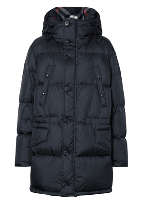 Burberry Logo Detail Hooded Puffer Coat - Blue
