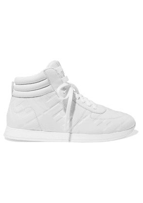 Fendi - Logo-embossed Leather High-top Sneakers - White