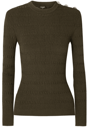 Balmain - Button-embellished Pointelle-trimmed Jacquard-knit Sweater - Army green