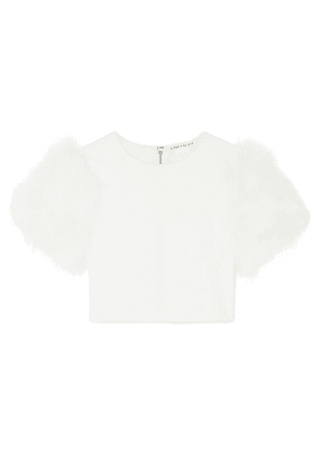 Alice + Olivia - Ciara Cropped Feather-embellished Crepe Top - Cream