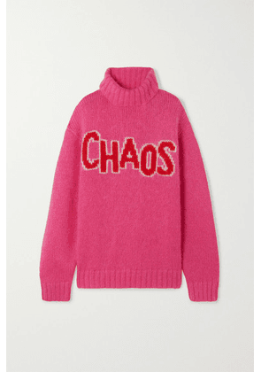 House of Holland - Chaos Oversized Intarsia Knitted Turtleneck Sweater - Pink