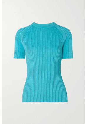 ANNA QUAN - Billie Pointelle-trimmed Ribbed Cotton Sweater - Azure