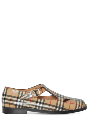 20mm Hannie Check Print Leather Flats