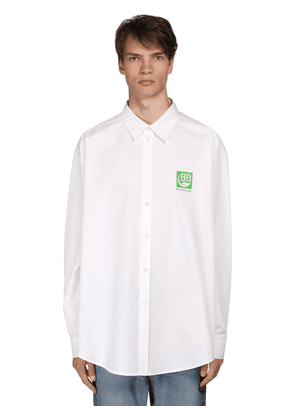 Cocoon Fit Green Logo Cotton Shirt