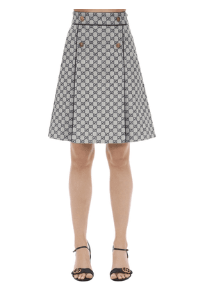 Gg Canvas A Line Skirt W/leather Piping