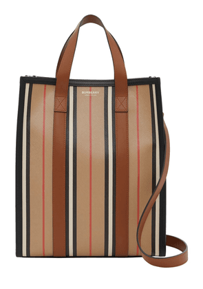 Sm Icon Stripe & Canvas Tote Bag