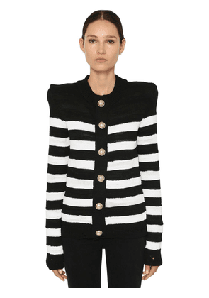 Striped Knit Cotton Blend Cardigan