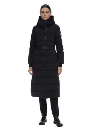 Long Hooded Tech Down Coat