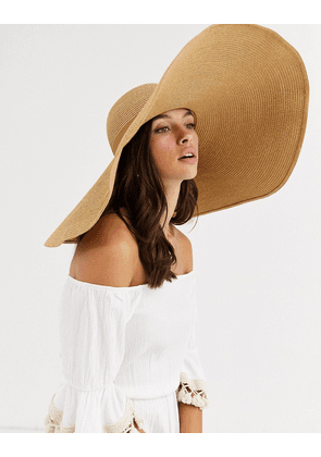 ASOS DESIGN large straw hat in with size adjuster-Brown