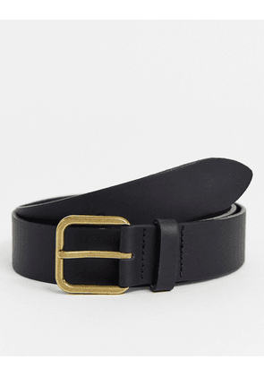 ASOS DESIGN leather wide belt in black with antique brass buckle