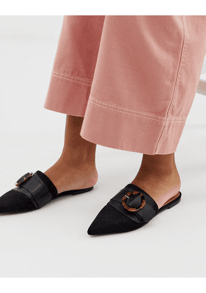 ASOS DESIGN Limit buckle pointed mules in black