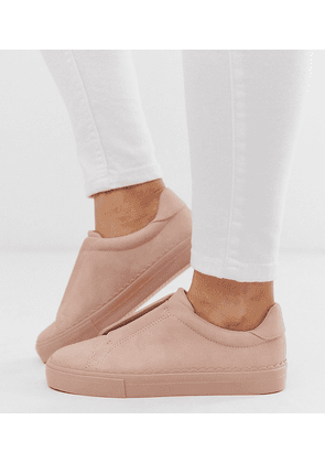 ASOS DESIGN Wide Fit Devoted slip on trainers in beige