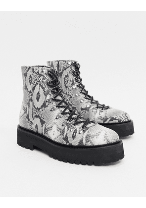 ASOS EDITION lace up boot with snake skin texture in grey-Brown