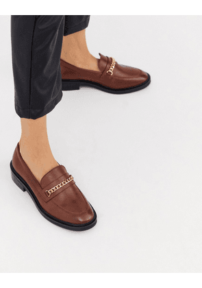 ASOS DESIGN Mixture leather chain loafers in cognac-Brown