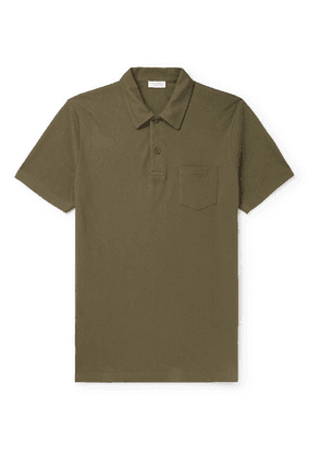 Sunspel - Riviera Slim-fit Cotton-mesh Polo Shirt - Green