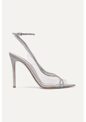 Gianvito Rossi - Plexi 105 Crystal-embellished Lamé And Pvc Sandals - Silver
