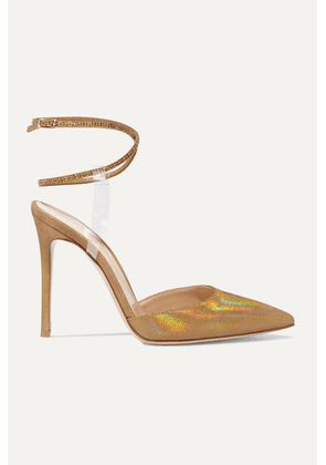 Gianvito Rossi - 105 Pvc-trimmed Glittered Faille And Crystal-embellished Suede Pumps - Gold