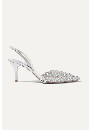 René Caovilla - Macre Crystal-embellished Lace And Leather Slingback Pumps - Silver
