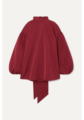 Valentino - Oversized Tie-detailed Cotton-blend Poplin Blouse - Red