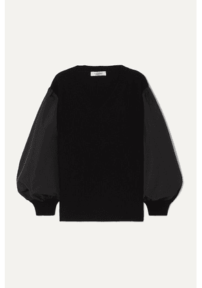 Valentino - Paneled Cotton-blend Poplin And Wool And Cashmere-blend Sweater - Black