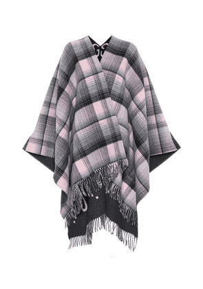 Reversible checked wool poncho