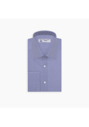 Blue Superfine Oxford Cotton Shirt with T & A Collar and Double Cuffs