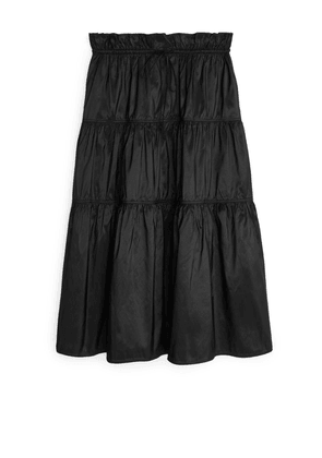 Gathered Taffeta Skirt - Black