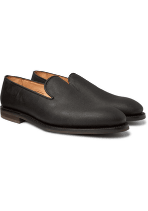 George Cleverley - Positano Waxed-cotton Loafers - Dark green