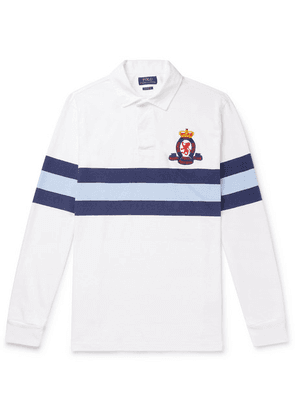 Polo Ralph Lauren - Logo-embroidered Striped Cotton-jersey Rugby Shirt - White