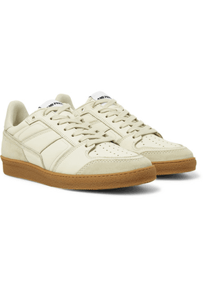 AMI - Full-grain Leather And Suede Sneakers - Ecru