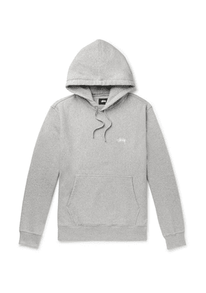 Stüssy - Logo-embroidered Mélange Fleece-back Cotton-jersey Hoodie - Gray