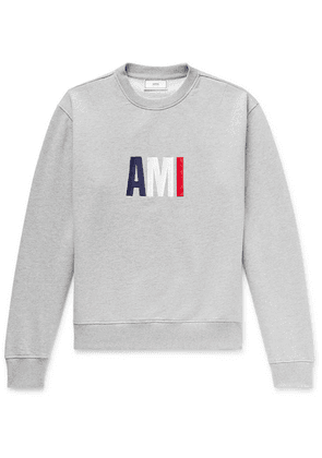 AMI - Slim-fit Logo-embroidered Loopback Cotton-jersey Sweatshirt - Gray