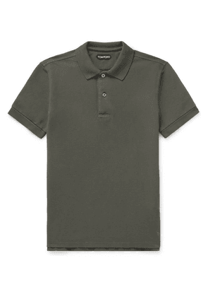 TOM FORD - Slim-fit Garment-dyed Cotton-piqué Polo Shirt - Green