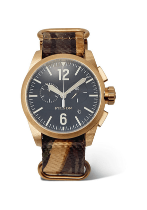 Filson - Chronograph Gold-tone Stainless Steel And Camouflage-print Webbing Watch - Navy