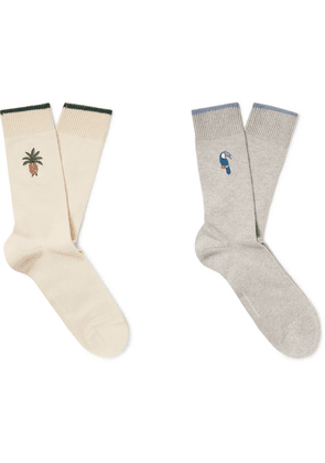 Desmond & Dempsey - Two-pack Embroidered Stretch Cotton-blend Socks - Cream