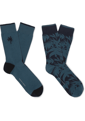 Desmond & Dempsey - Two-pack Embroidered Stretch Cotton-blend Jacquard Socks - Green
