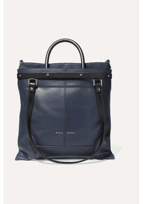 Proenza Schouler - Ps19 Small Two-tone Leather And Suede Tote - Navy