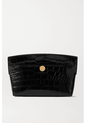 Burberry - Glossed Croc-effect Leather Clutch - Black